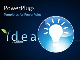 Presentation enhanced with glowing light bulb inblue circle depicting innovation and brightideas