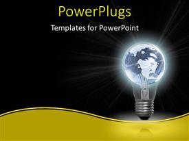 Elegant PPT layouts enhanced with glowing light bulb with earth globe as filament on black background