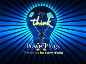 Colorful PPT theme having glowing light bulb with word think as filament