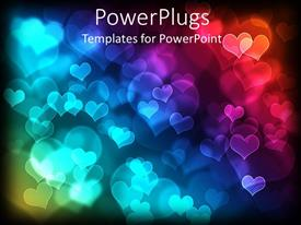 Presentation design consisting of glowing loves shapes of different sizes over black background