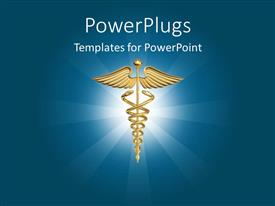 PPT theme featuring glowing medical symbol on dark blue background