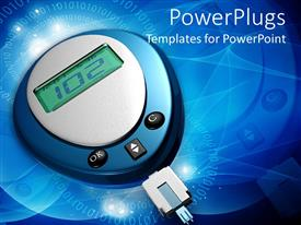 Amazing theme consisting of glucometer showing 102 glucose level in blue color background