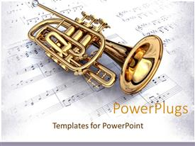 PPT theme consisting of gold 3D colored trumpet on a white music note