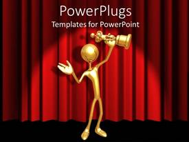 Elegant PPT theme enhanced with gold 3D figure holding gold award statuette on red curtain background