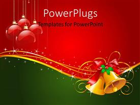 Colorful presentation design having gold Christmas bells with bow and red ornaments