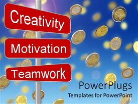 Colorful presentation theme having gold coins falling from blue sky over business motivation sign post