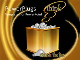 Elegant PPT layouts enhanced with gold colored box filled up with light bulbs with  THINK text