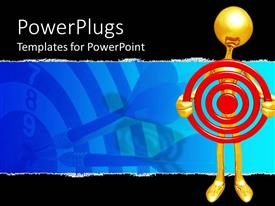 PPT theme enhanced with a gold colored character holding a red dart board