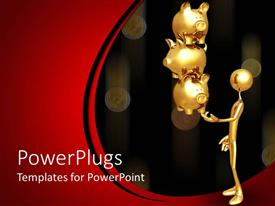 Amazing PPT layouts consisting of a gold colored character holding three golden piggy banks