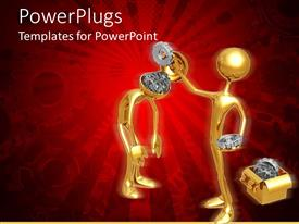 PPT theme featuring gold colored human figures removing gears from another head