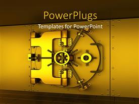 Audience pleasing PPT layouts featuring a gold colored iron safe on a brown background