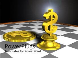 PPT layouts with gold dollar sign chess piece and gold coin on gray and white chess board, finance, investing