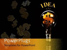 Beautiful PPT layouts with gold dollar sign inside idea light bulb against black background, money, inspiration