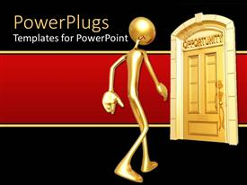 PPT theme consisting of gold figure approaching door of opportunity on red and black background