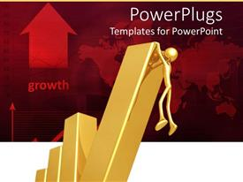 Audience pleasing presentation featuring gold figure climbing last part of bar chart on red background indicating growth