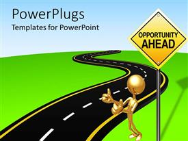 Presentation theme enhanced with gold figure hitching ride next to Opportunity Ahead sign