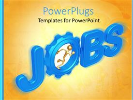 PPT theme with gold figure running inside a gear in the word jobs