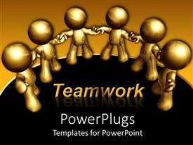 Presentation theme having gold figures holding hands in a circle