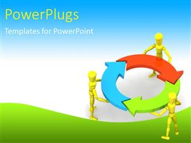 Colorful presentation design having gold figures holding red, blue, green arrows in circle