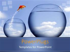 PPT layouts with gold fish jumping into bigger fish tank with blue background
