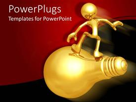 PPT theme featuring gold human figure standing on a fast moving golden bulb