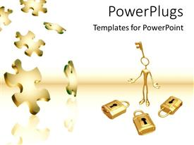Colorful presentation having gold key to locks puzzle pieces problems and solutions white background