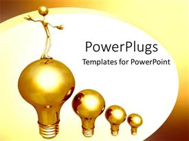 Audience pleasing theme featuring gold light-bulbs rising leader success achievement white background