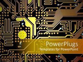 Amazing PPT theme consisting of gold, orange and black circuitboard, technology, computers, electronics