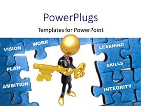 Presentation theme featuring gold plated man holding key stands in middle of blue puzzle