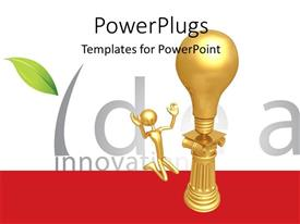 Presentation consisting of gold plated man kneels before gold bulb on pillar depicting idea