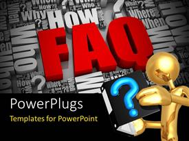 Colorful PPT theme having gold plated man reads from book with blue question mark symbol depicting FAQ