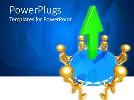 PPT layouts with gold plated men join hands to lift blue circle with green arrow