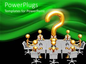 PPT layouts enhanced with gold plated men sit with large question mark symbol on conference table