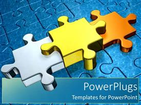 Colorful PPT theme having gold puzzle pieces as a metaphor first second and third place stand out through success on a blue background