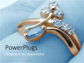 Presentation theme having gold ring with diamond jewels, jewelry, fashion, shopping