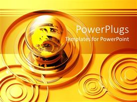 Beautiful PPT layouts with gold rings around transparent globe, concentric circles