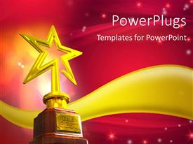 Slide set enhanced with gold star trophy placed over a golden wave with glowing stars and flares on red glowing background