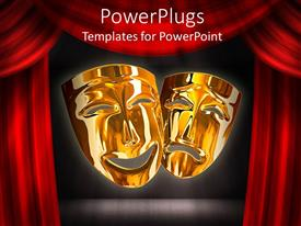 Beautiful PPT layouts with gold theater comedy and tragedy masks with red stage curtains