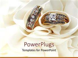 Amazing PPT theme consisting of gold wedding bands wedding rings with diamonds on white soft material