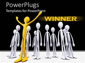 Presentation featuring gold winner celebrating with silver losers, success metaphor, competition, business