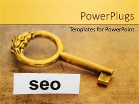 Theme enhanced with a golde key with the word SEO and ground in the background