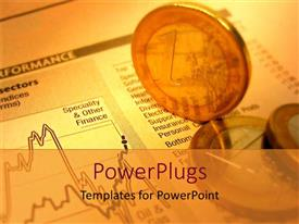 PPT theme with golden 1 Euro coins on financial report sheet