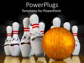 Presentation theme consisting of a golden bowling ball hitting a set of white bowling ins