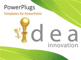 Presentation design consisting of a golden bulb with a person and idea