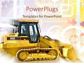 Elegant slides enhanced with a golden bulldozer with multi colored background including lines and circles
