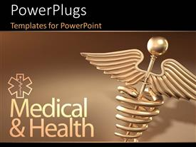 Audience pleasing PPT theme featuring golden caduceus medical symbol with medical and health keywords over brown background