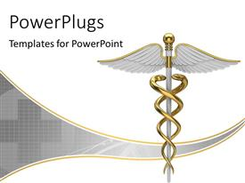 Presentation theme with golden caduceus medical symbol with plus sign over grey background