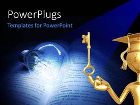 Colorful slide deck having a golden character with a key and a bulb lit on a book
