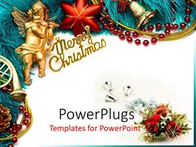 Presentation design with golden cherub playing flute with Christmas decorations