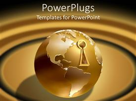 Presentation theme featuring golden earth globe with key hole over brown background